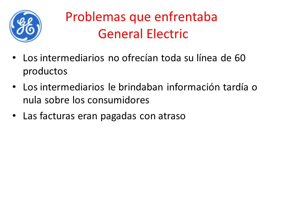 Problemas que enfrentaba General Electric