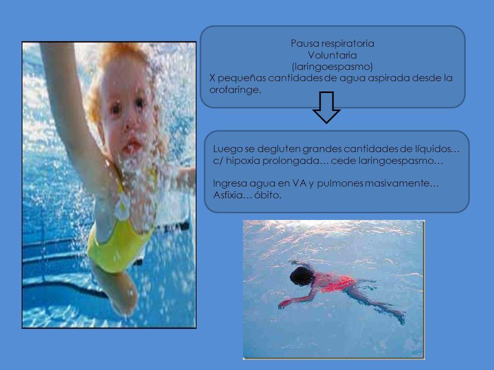 Pausa respiratoria Voluntaria. (laringoespasmo) X pequeñas cantidades de agua aspirada desde la orofaringe.