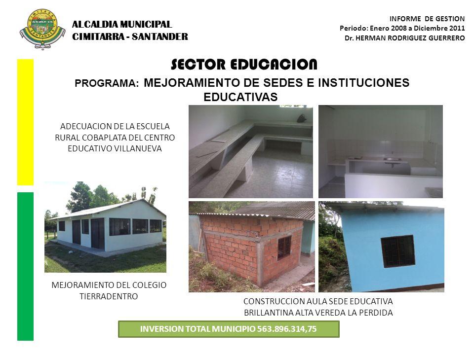 SECTOR EDUCACION ALCALDIA MUNICIPAL CIMITARRA - SANTANDER