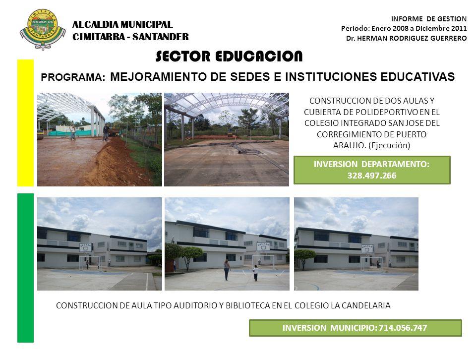 PROGRAMA: MEJORAMIENTO DE SEDES E INSTITUCIONES EDUCATIVAS