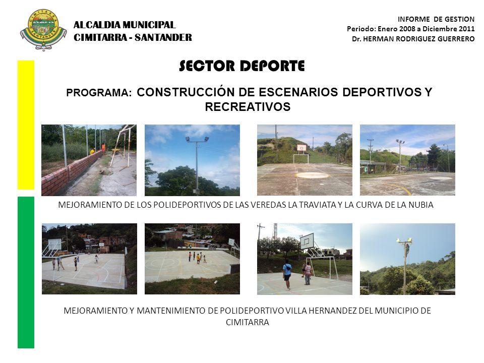 PROGRAMA: CONSTRUCCIÓN DE ESCENARIOS DEPORTIVOS Y RECREATIVOS