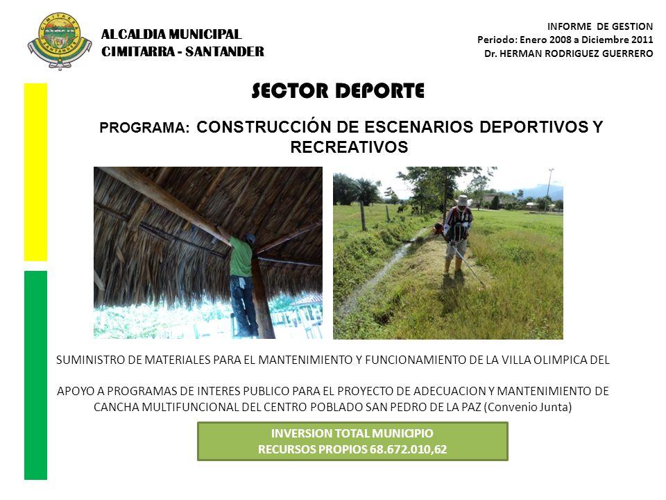 SECTOR DEPORTE ALCALDIA MUNICIPAL CIMITARRA - SANTANDER