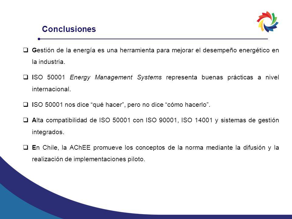 Conclusiones Gestión de la energía es una herramienta para mejorar el desempeño energético en la industria.