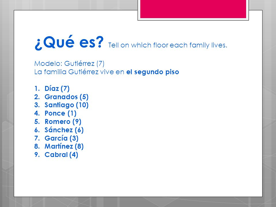 ¿Qué es Tell on which floor each family lives.