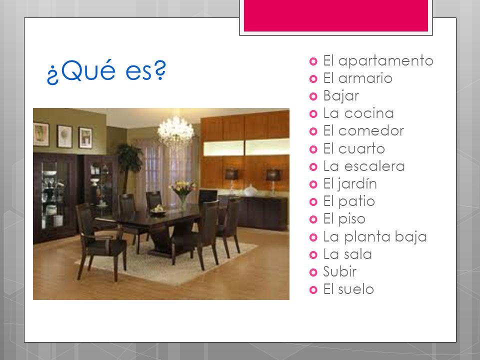 ¿Qué es El apartamento El armario Bajar La cocina El comedor