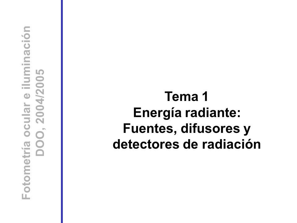 Tema 1 Energía radiante: Fuentes, difusores y detectores de radiación