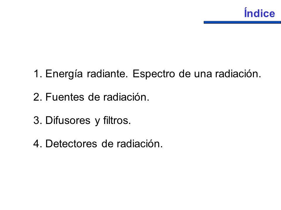 Índice 1. Energía radiante. Espectro de una radiación. 2. Fuentes de radiación. 3. Difusores y filtros.