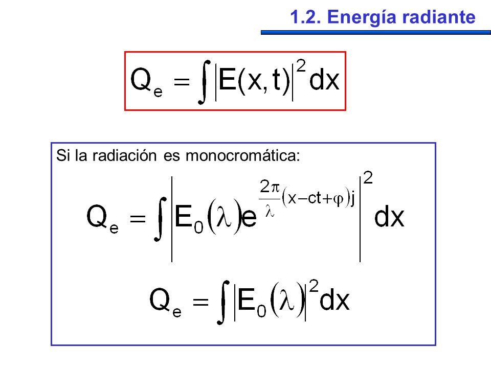 1.2. Energía radiante Si la radiación es monocromática: