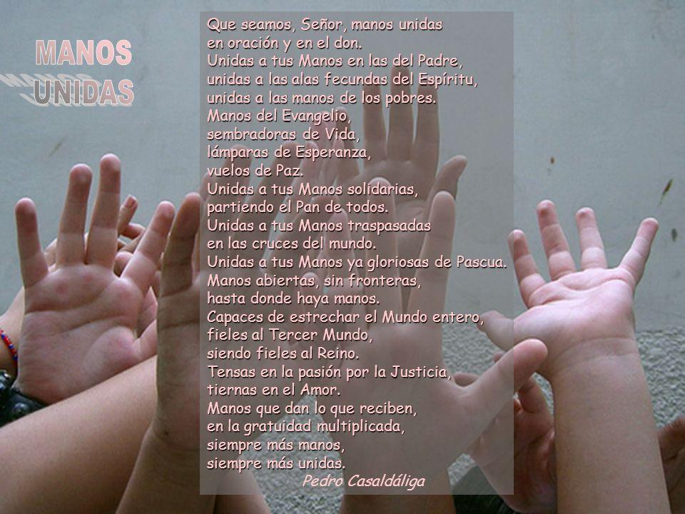 Que seamos, Señor, manos unidas en oración y en el don