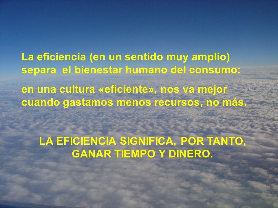 LA EFICIENCIA SIGNIFICA, POR TANTO, GANAR TIEMPO Y DINERO.