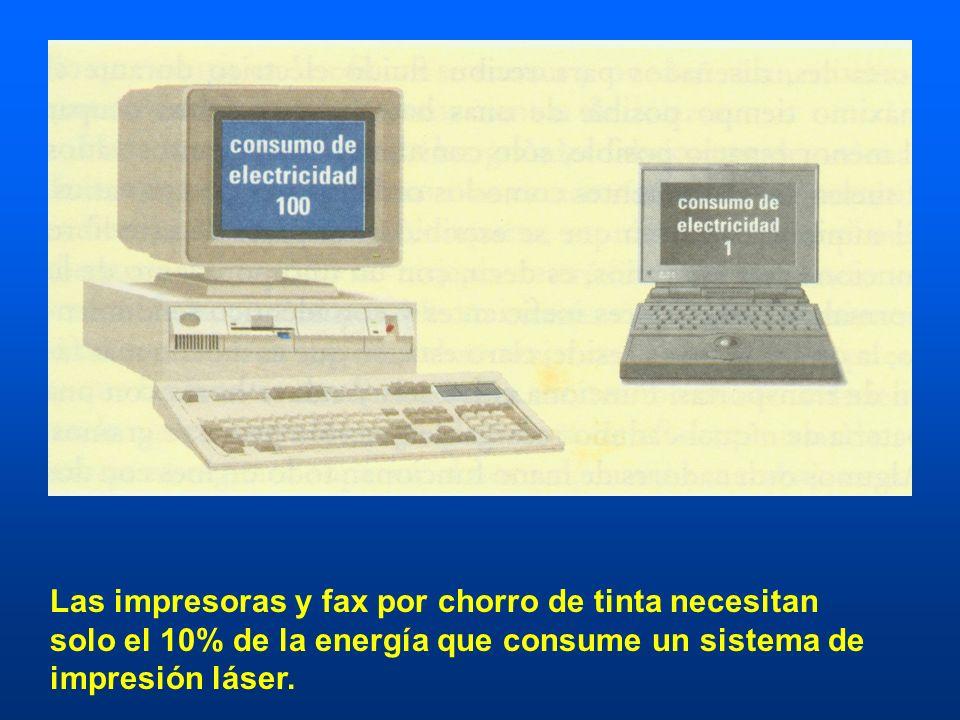Las impresoras y fax por chorro de tinta necesitan solo el 10% de la energía que consume un sistema de impresión láser.