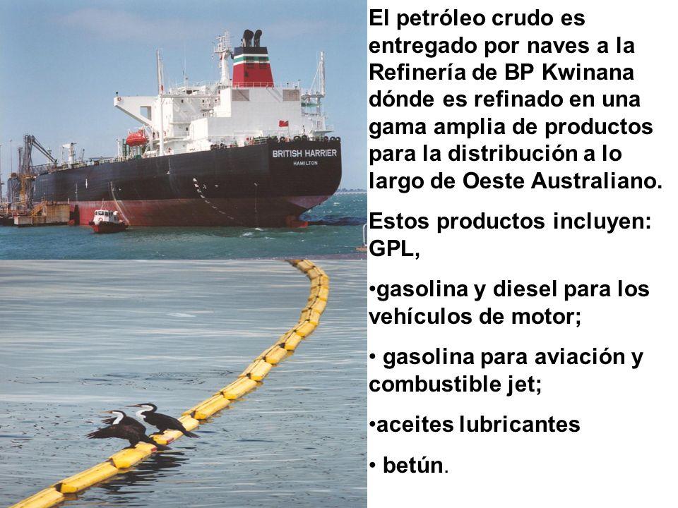 El petróleo crudo es entregado por naves a la Refinería de BP Kwinana dónde es refinado en una gama amplia de productos para la distribución a lo largo de Oeste Australiano.