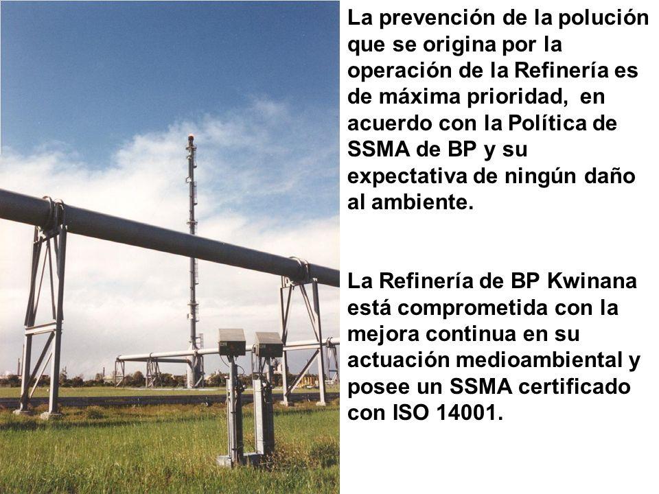 La prevención de la polución que se origina por la operación de la Refinería es de máxima prioridad, en acuerdo con la Política de SSMA de BP y su expectativa de ningún daño al ambiente.