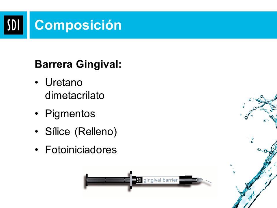 Composición Barrera Gingival: Uretano dimetacrilato Pigmentos