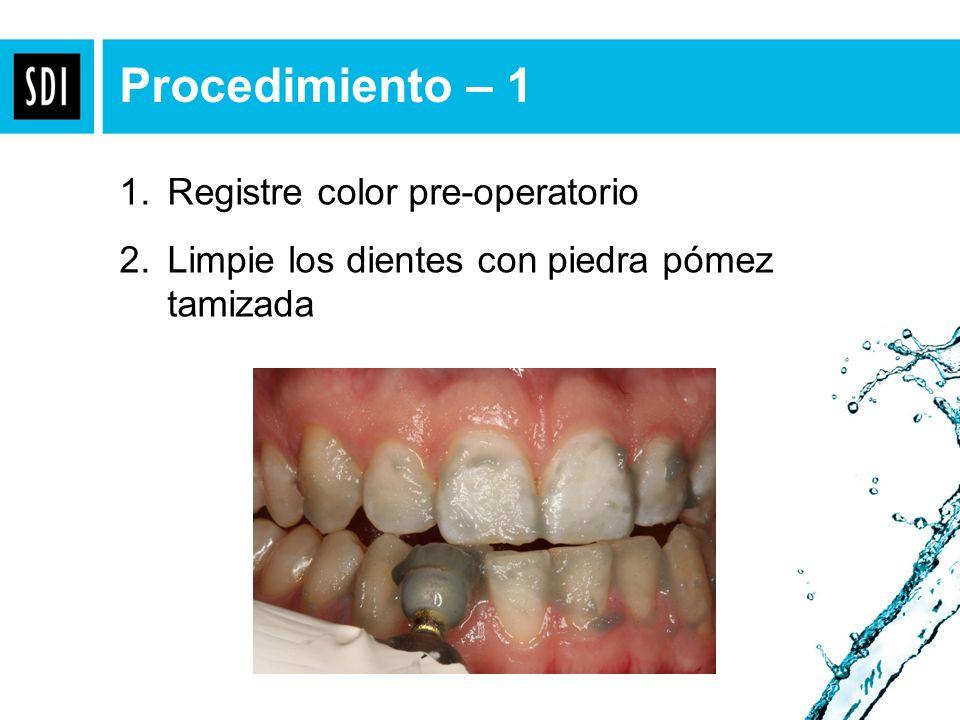 Procedimiento – 1 Registre color pre-operatorio