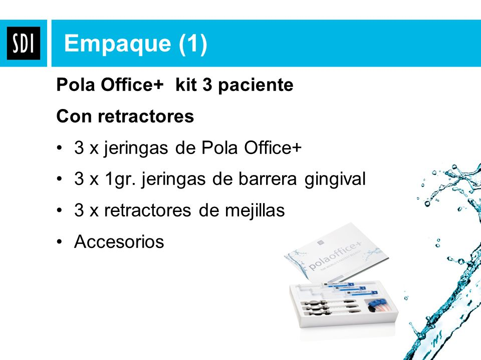 Empaque (1) Pola Office+ kit 3 paciente Con retractores