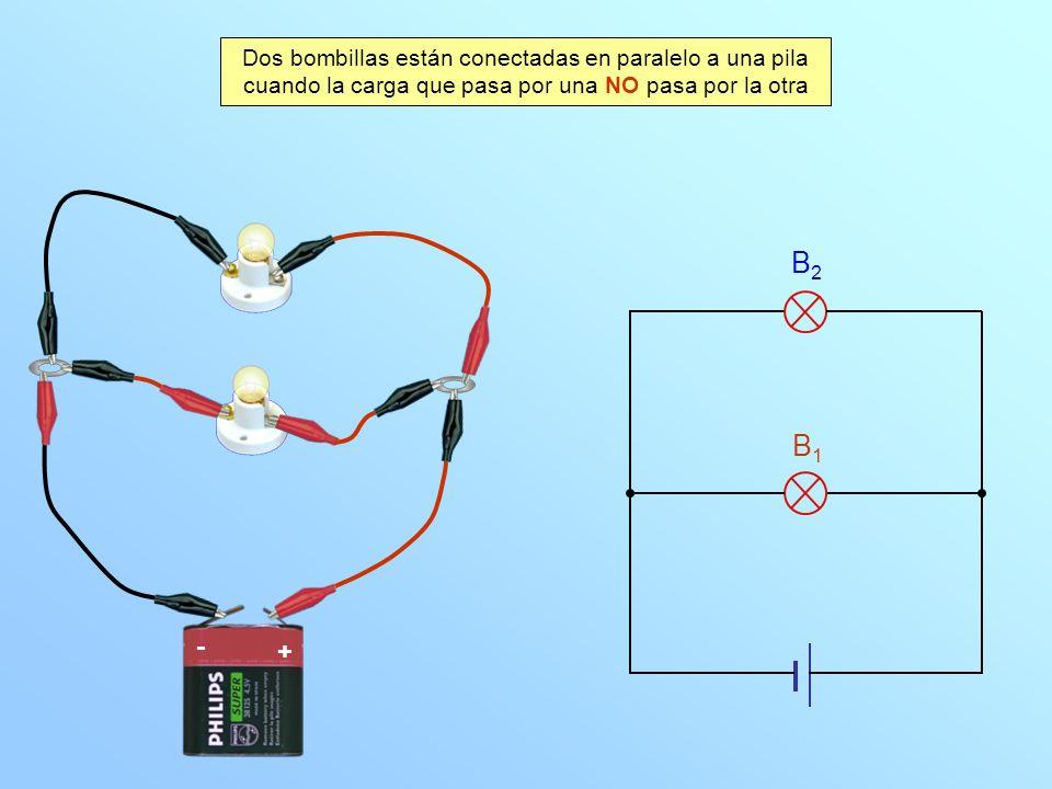 Dos bombillas están conectadas en paralelo a una pila cuando la carga que pasa por una NO pasa por la otra