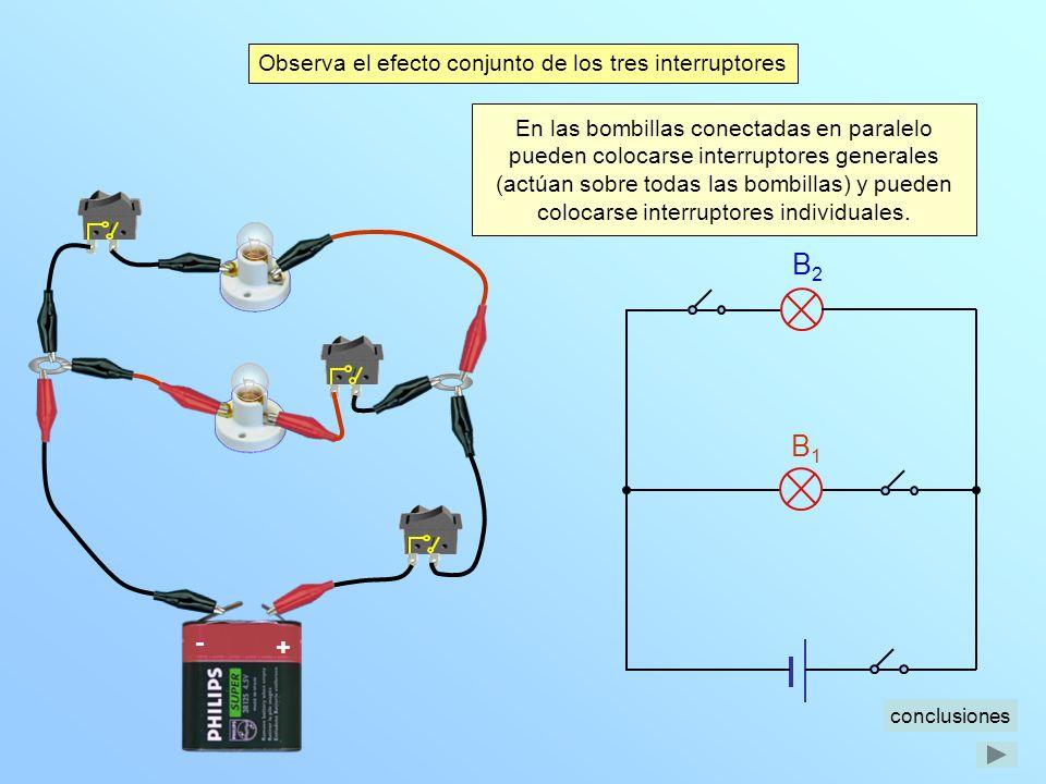 B2 B1 - + Observa el efecto conjunto de los tres interruptores