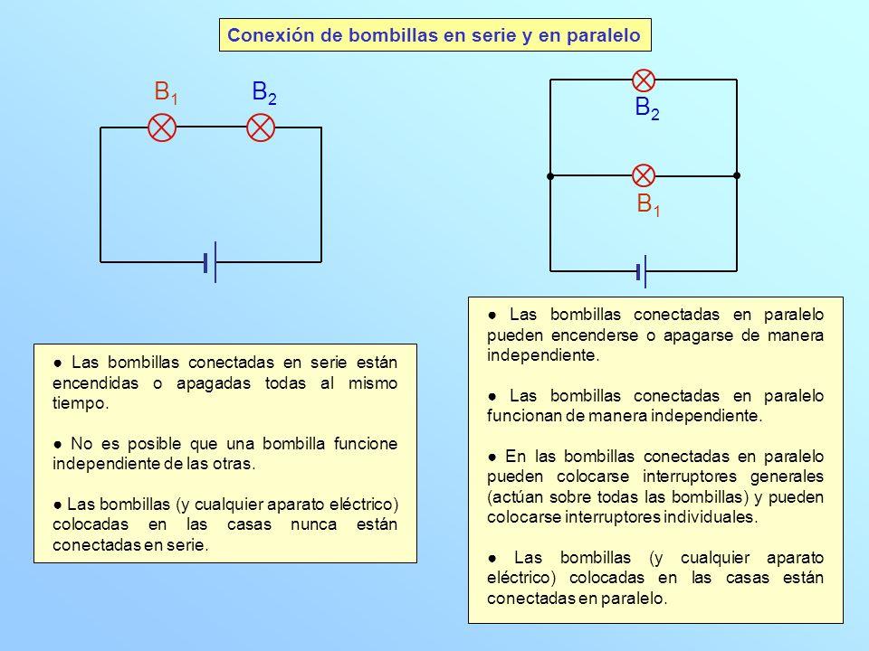 B1 B2 B2 B1 Conexión de bombillas en serie y en paralelo