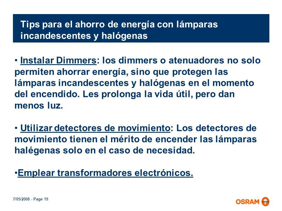 Tips para el ahorro de energía con lámparas incandescentes y halógenas
