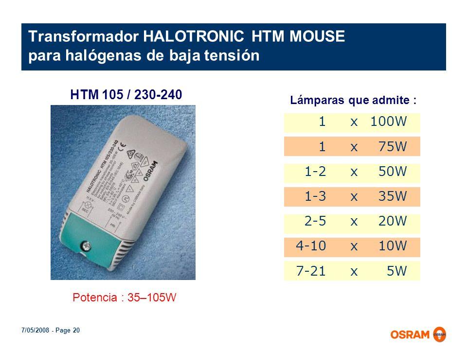 Transformador HALOTRONIC HTM MOUSE para halógenas de baja tensión