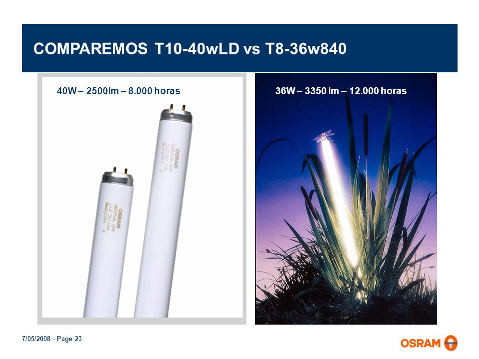 COMPAREMOS T10-40wLD vs T8-36w840