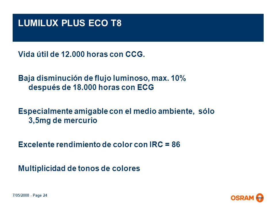 LUMILUX PLUS ECO T8 Vida útil de 12.000 horas con CCG.