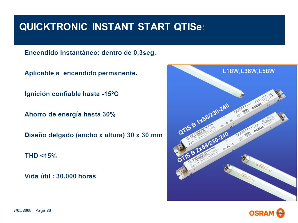 QUICKTRONIC INSTANT START QTISe:
