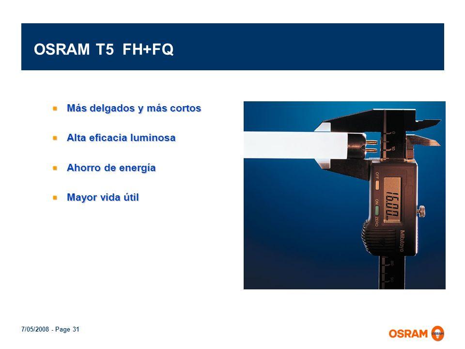 OSRAM T5 FH+FQ Más delgados y más cortos Alta eficacia luminosa