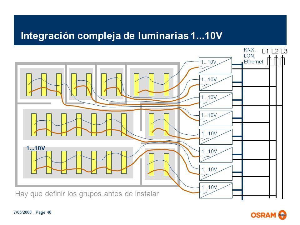 Integración compleja de luminarias 1...10V