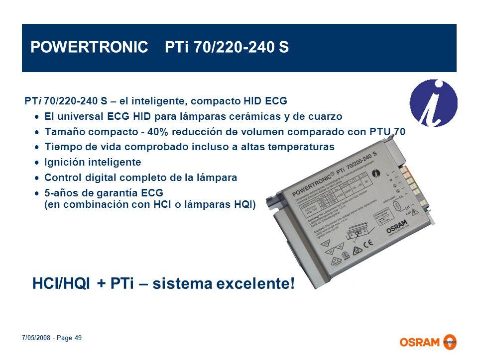 HCI/HQI + PTi – sistema excelente!