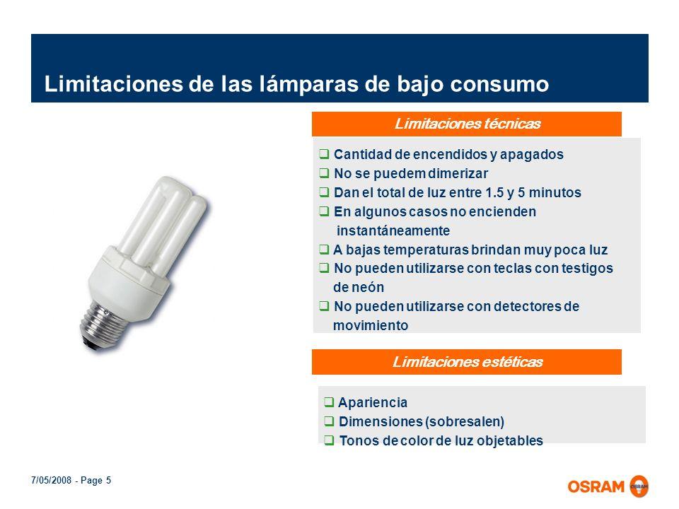 Limitaciones de las lámparas de bajo consumo