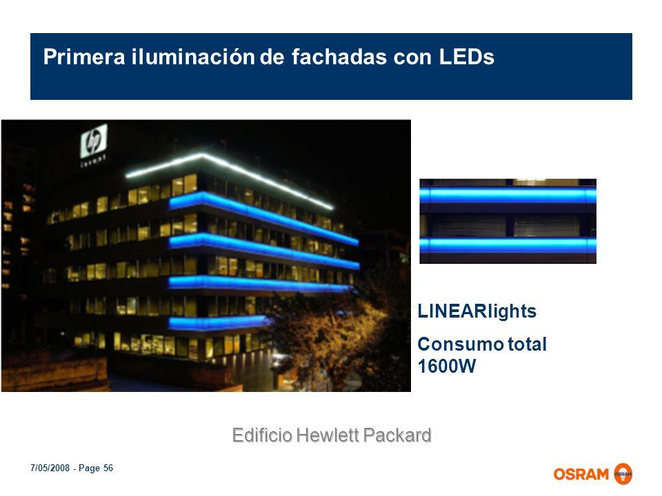 Primera iluminación de fachadas con LEDs