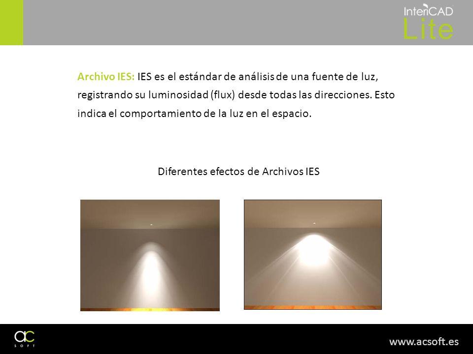 Archivo IES: IES es el estándar de análisis de una fuente de luz, registrando su luminosidad (flux) desde todas las direcciones. Esto indica el comportamiento de la luz en el espacio.