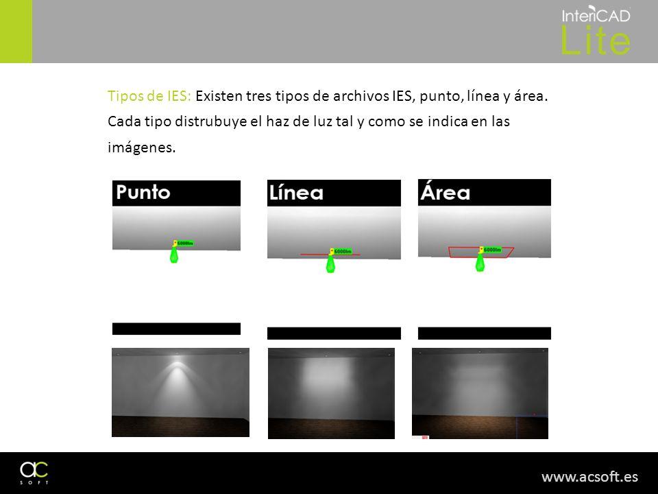 Tipos de IES: Existen tres tipos de archivos IES, punto, línea y área