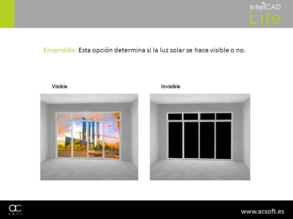 Encendido: Esta opción determina si la luz solar se hace visible o no.