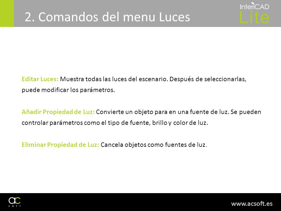 2. Comandos del menu Luces
