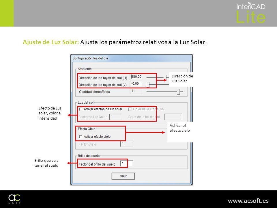 Ajuste de Luz Solar: Ajusta los parámetros relativos a la Luz Solar.