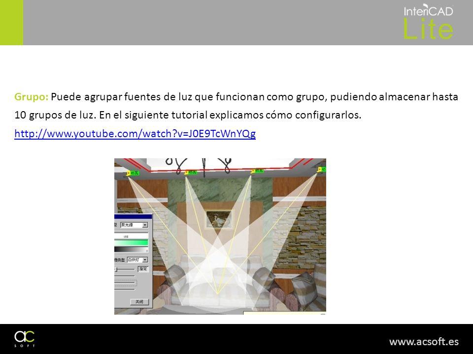 Grupo: Puede agrupar fuentes de luz que funcionan como grupo, pudiendo almacenar hasta 10 grupos de luz. En el siguiente tutorial explicamos cómo configurarlos.