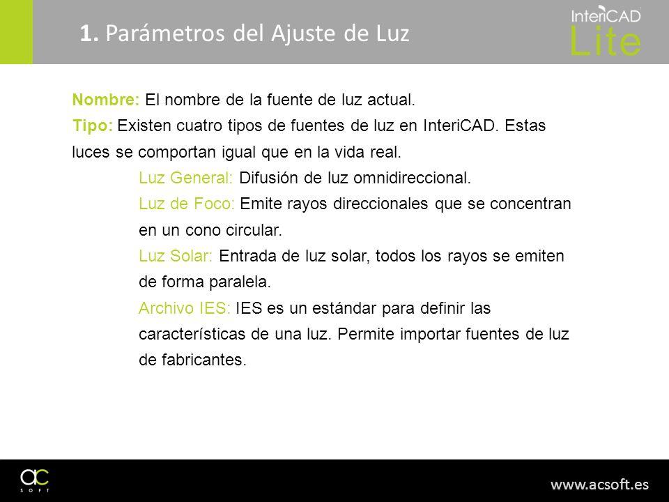 1. Parámetros del Ajuste de Luz