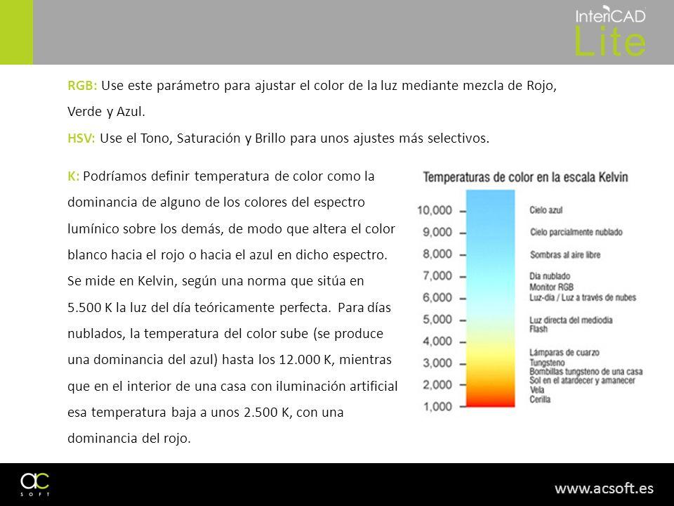 RGB: Use este parámetro para ajustar el color de la luz mediante mezcla de Rojo, Verde y Azul.
