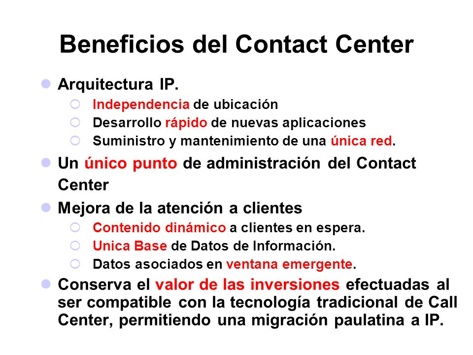 Beneficios del Contact Center