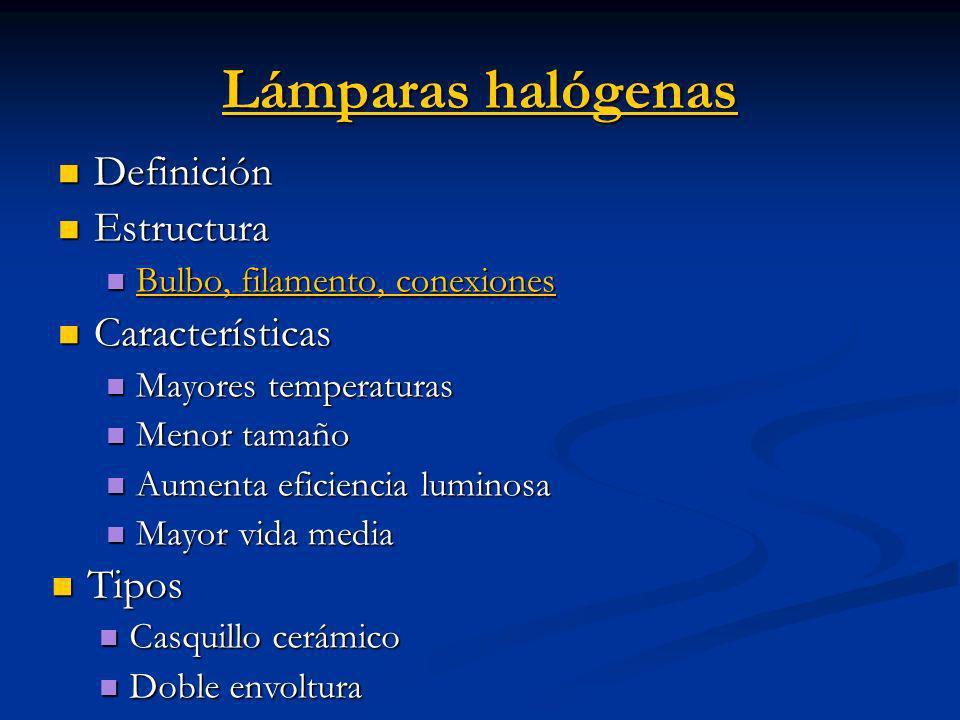 Lámparas halógenas Definición Estructura Características Tipos