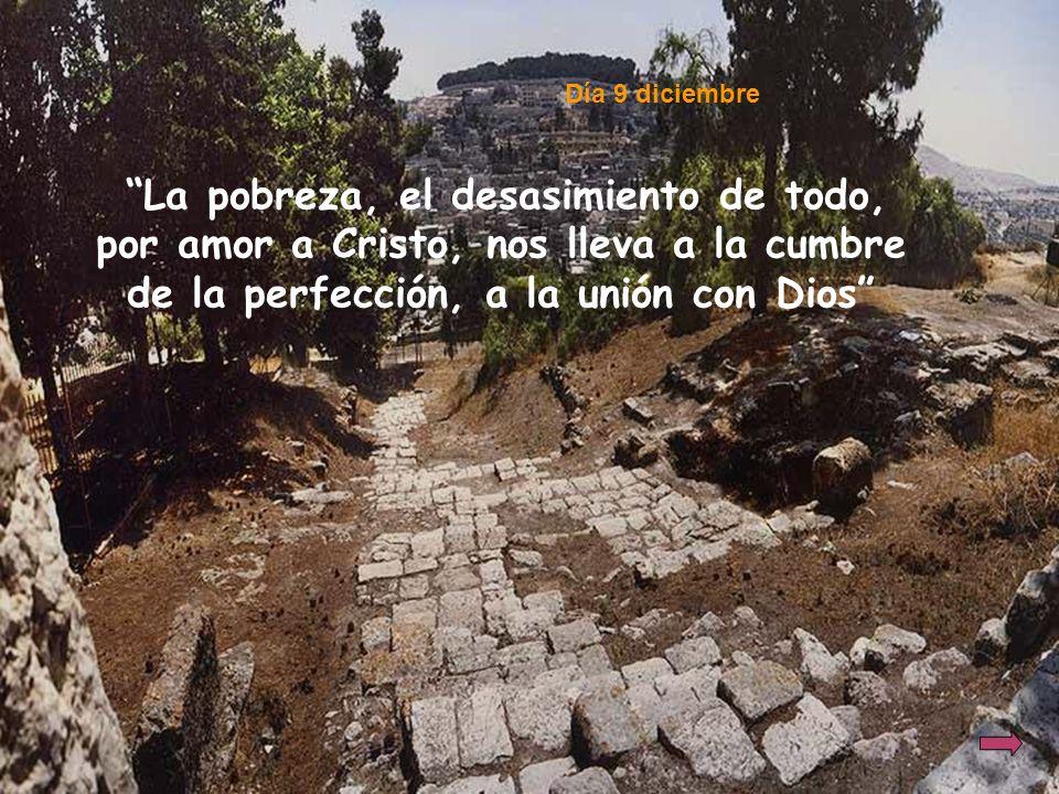 Día 9 diciembre La pobreza, el desasimiento de todo, por amor a Cristo, nos lleva a la cumbre de la perfección, a la unión con Dios