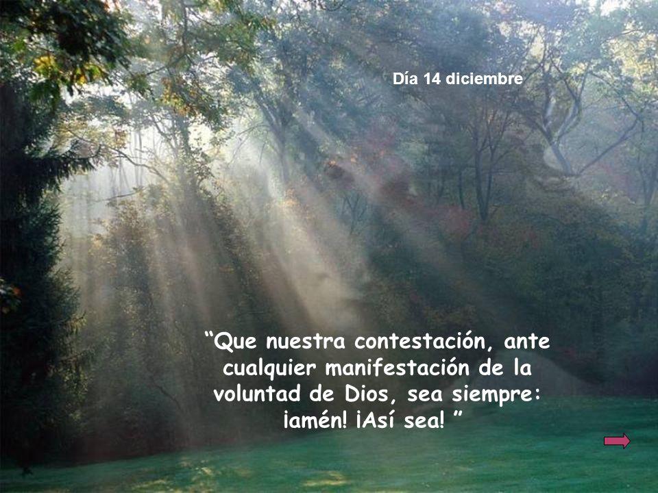 Día 14 diciembre Que nuestra contestación, ante cualquier manifestación de la voluntad de Dios, sea siempre: ¡amén.