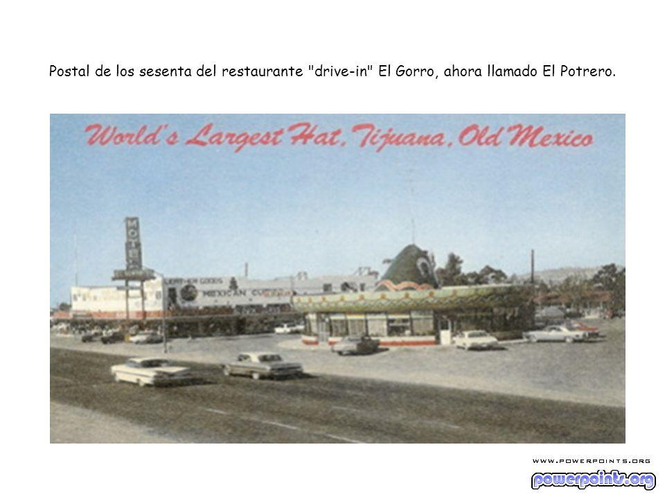 Postal de los sesenta del restaurante drive-in El Gorro, ahora llamado El Potrero.