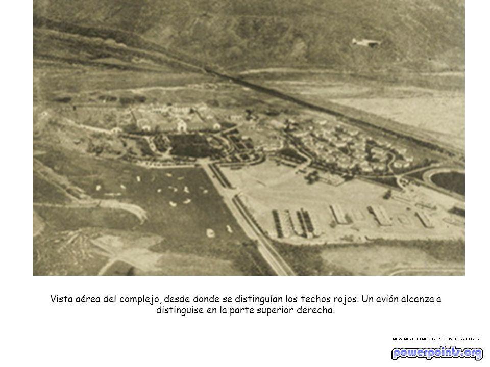 Vista aérea del complejo, desde donde se distinguían los techos rojos