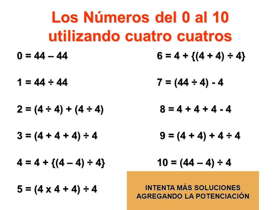 Los Números del 0 al 10 utilizando cuatro cuatros