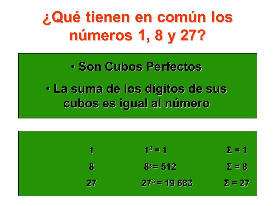 ¿Qué tienen en común los números 1, 8 y 27