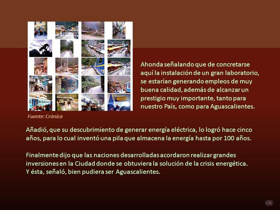 Ahonda señalando que de concretarse aquí la instalación de un gran laboratorio, se estarían generando empleos de muy buena calidad, además de alcanzar un prestigio muy importante, tanto para nuestro País, como para Aguascalientes.